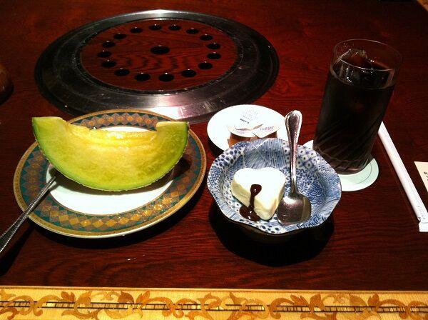 「叙々苑」デザート、メロン・アイス