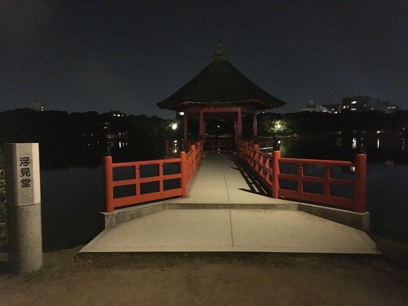 博多 大濠公園 夜 浮見堂