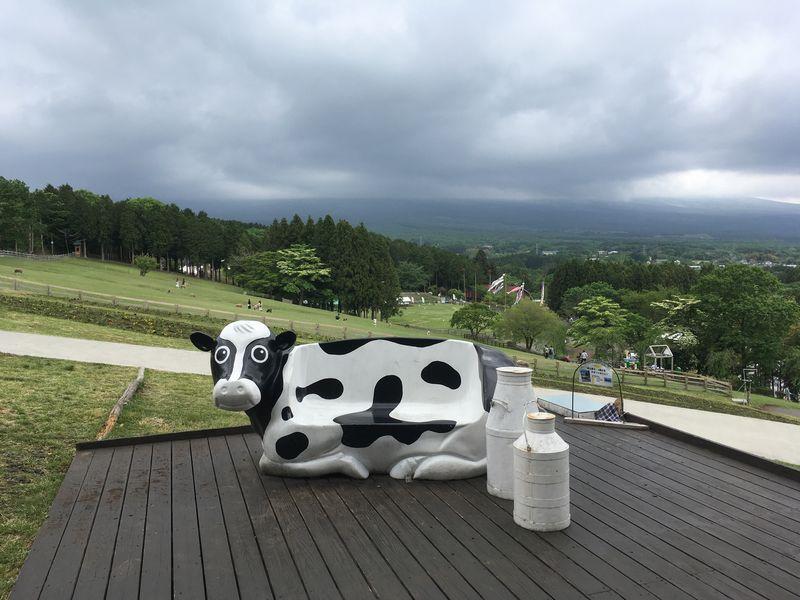まかいの牧場 富士山テラス 牛のイス