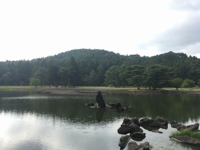 平泉 毛越寺 大泉が池 出島石組と池中立石