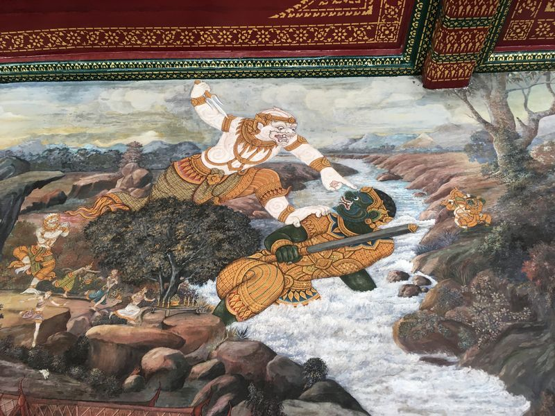 タイ バンコク ワット・プラケオ 回廊 ラーマキエン 壁画