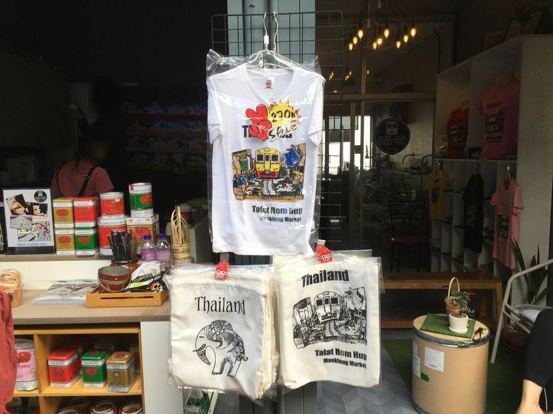 タイ メークロン線路市場 屋台 電車 Tシャツ