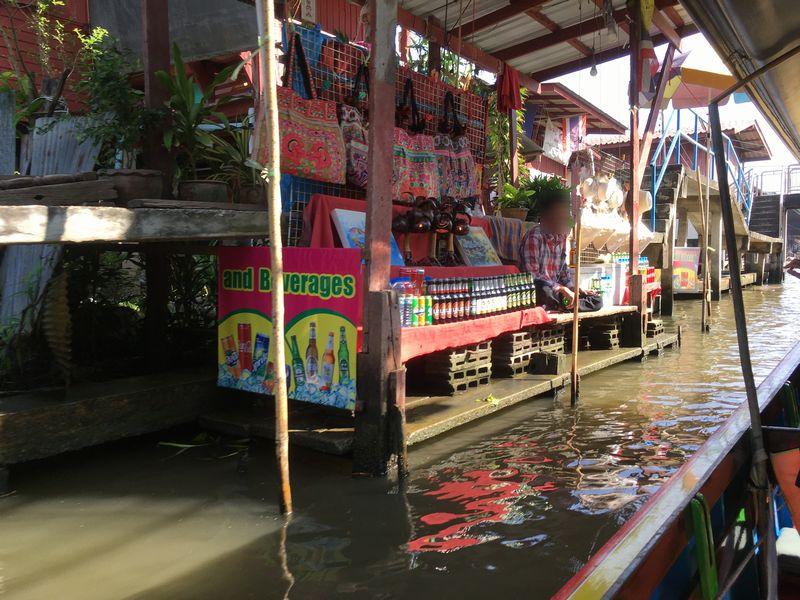 タイ ダムヌン・サドゥアック水上マーケット お店 エンジンボート 川 運河 水路