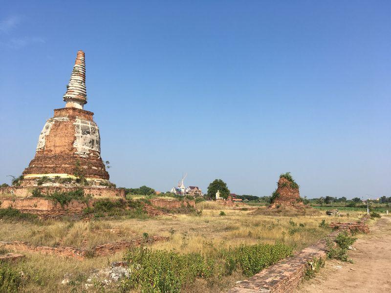タイ アユタヤ遺跡 PANG CHANG AYOTHAYA ゾウ乗り体験 仏塔