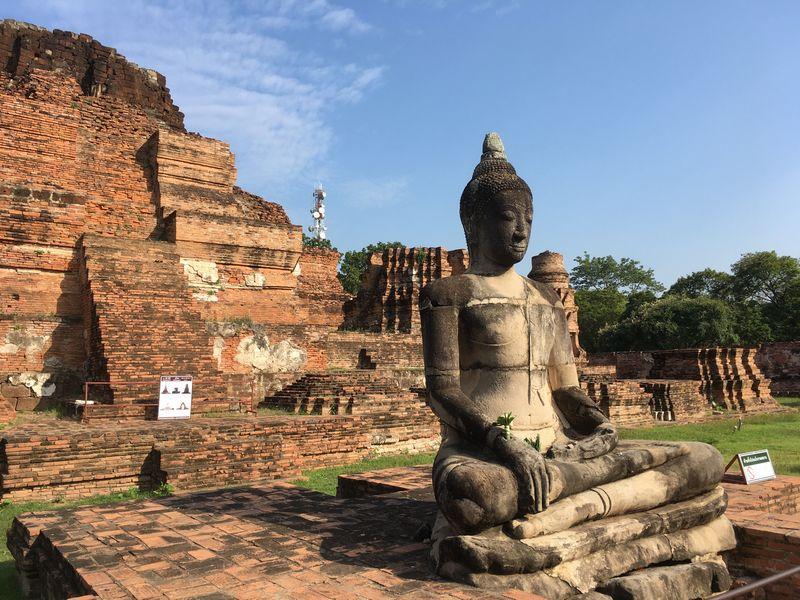 タイ アユタヤ遺跡 ワット・マハタート 仏像 大仏塔