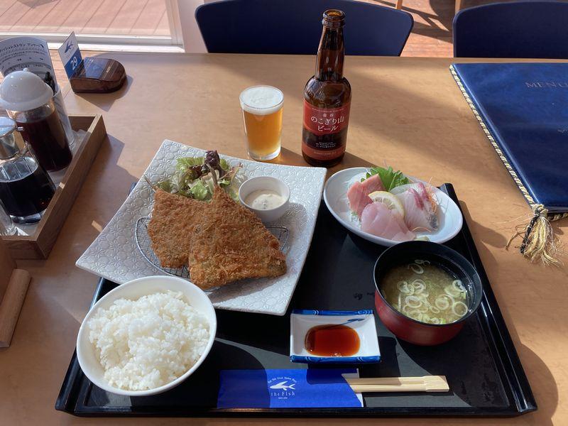 the Fish ザ・フィッシュ レストラン アジフライお刺身セット
